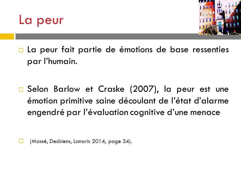 La peur La peur fait partie de émotions de base ressenties par l'humain.