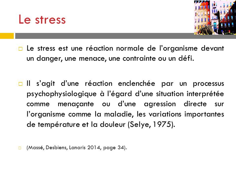 Le stress Le stress est une réaction normale de l'organisme devant un danger, une menace, une contrainte ou un défi.