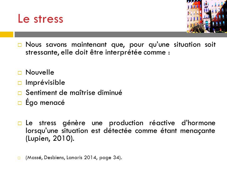 Le stress Nous savons maintenant que, pour qu'une situation soit stressante, elle doit être interprétée comme :
