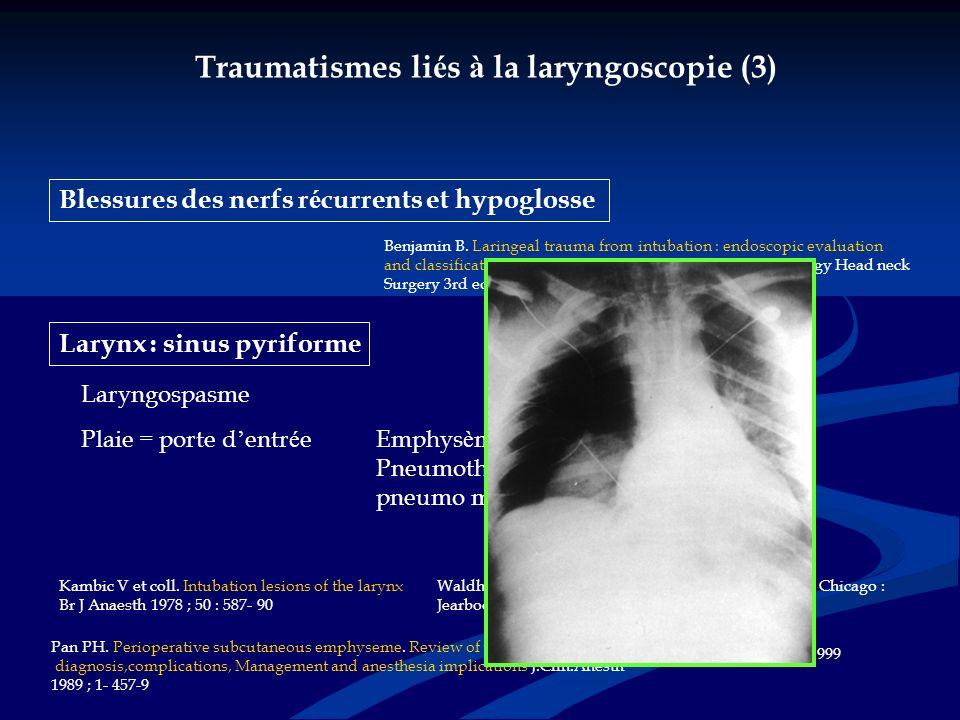 Traumatismes liés à la laryngoscopie (3)