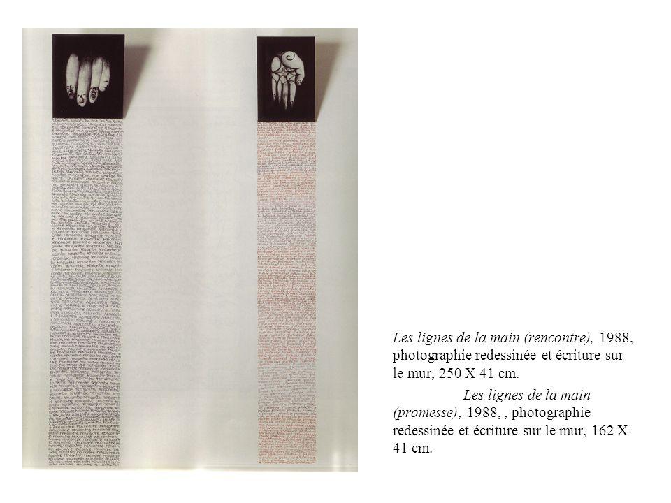 Les lignes de la main (rencontre), 1988, photographie redessinée et écriture sur le mur, 250 X 41 cm.