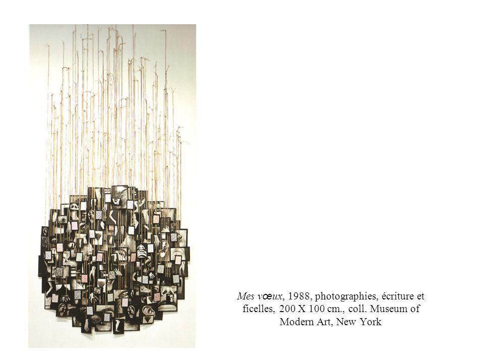 Mes vœux, 1988, photographies, écriture et ficelles, 200 X 100 cm