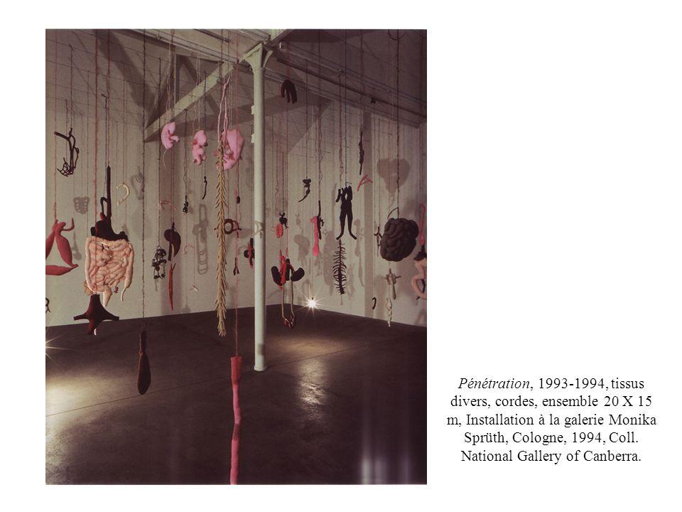 Pénétration, 1993-1994, tissus divers, cordes, ensemble 20 X 15 m, Installation à la galerie Monika Sprüth, Cologne, 1994, Coll.