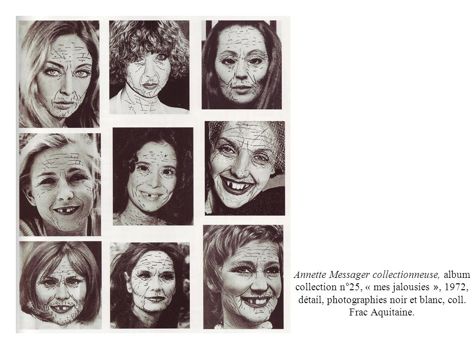 Annette Messager collectionneuse, album collection n°25, « mes jalousies », 1972, détail, photographies noir et blanc, coll.