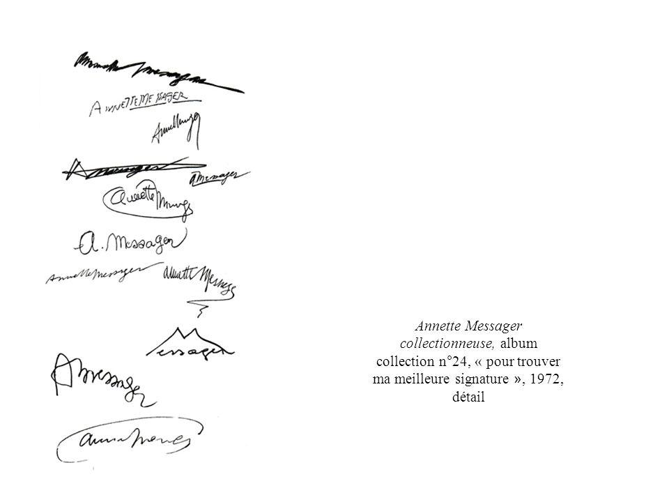 Annette Messager collectionneuse, album collection n°24, « pour trouver ma meilleure signature », 1972, détail
