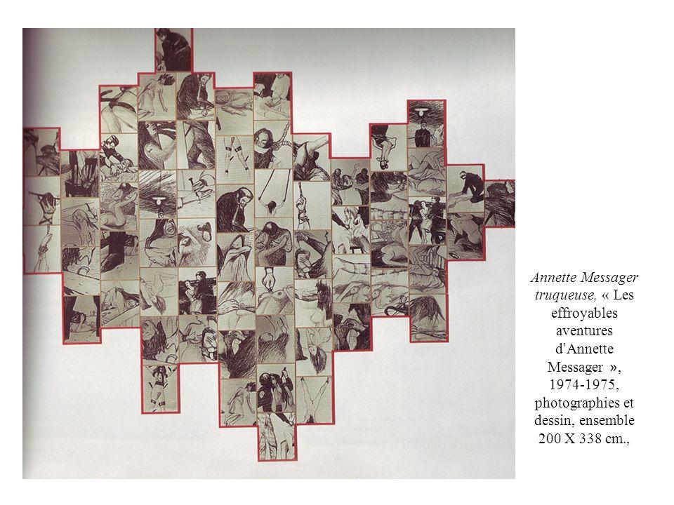 Annette Messager truqueuse, « Les effroyables aventures d'Annette Messager », 1974-1975, photographies et dessin, ensemble 200 X 338 cm.,