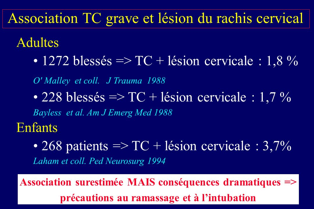 Association TC grave et lésion du rachis cervical