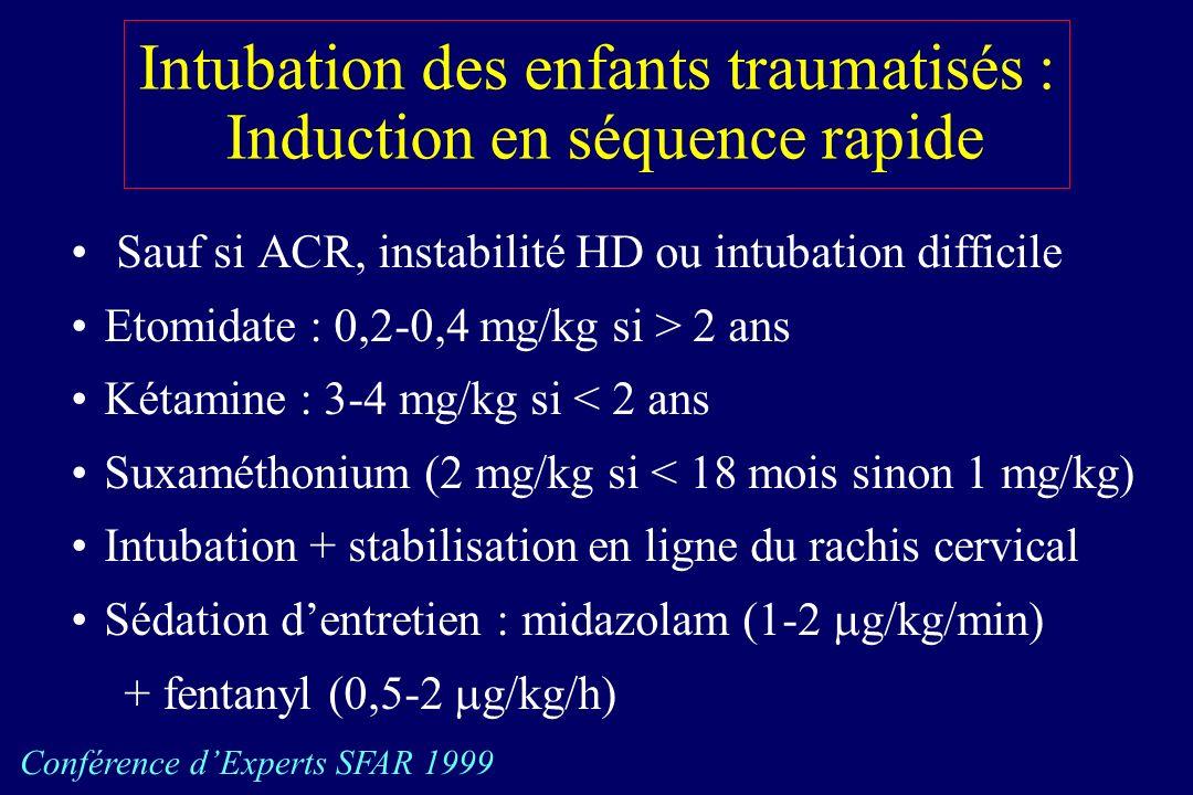 Intubation des enfants traumatisés : Induction en séquence rapide