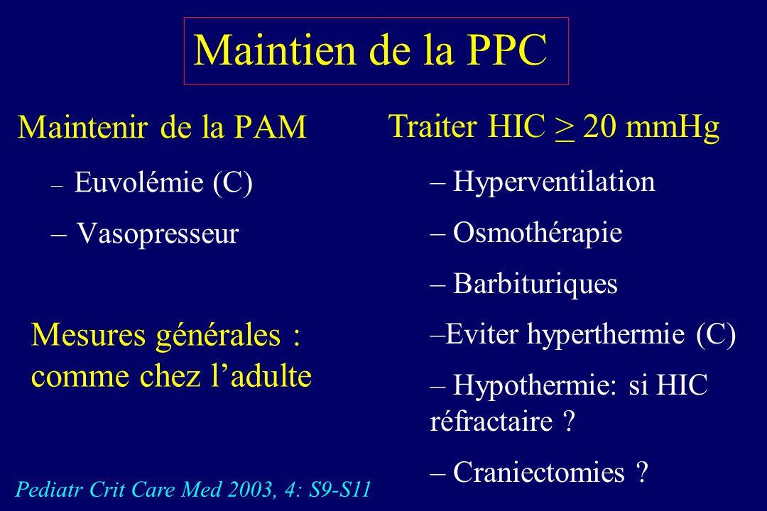 Maintien de la PPC Maintenir de la PAM Traiter HIC > 20 mmHg