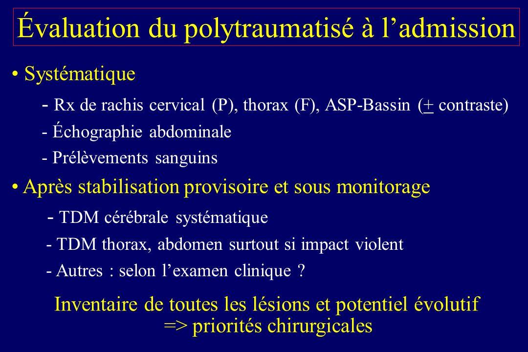 Évaluation du polytraumatisé à l'admission