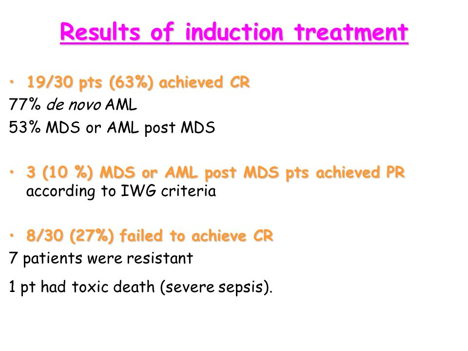 Results of induction treatment