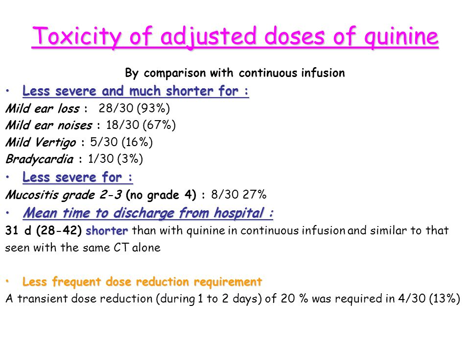 Toxicity of adjusted doses of quinine