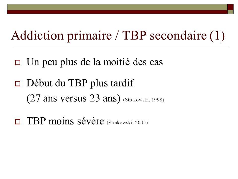 Addiction primaire / TBP secondaire (1)