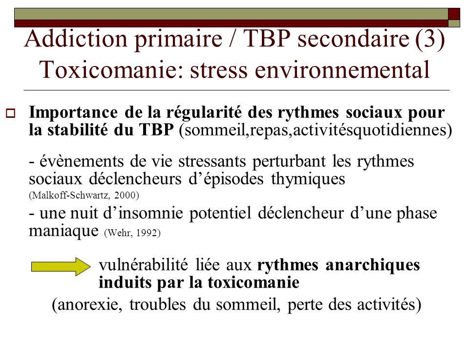 Addiction primaire / TBP secondaire (3) Toxicomanie: stress environnemental