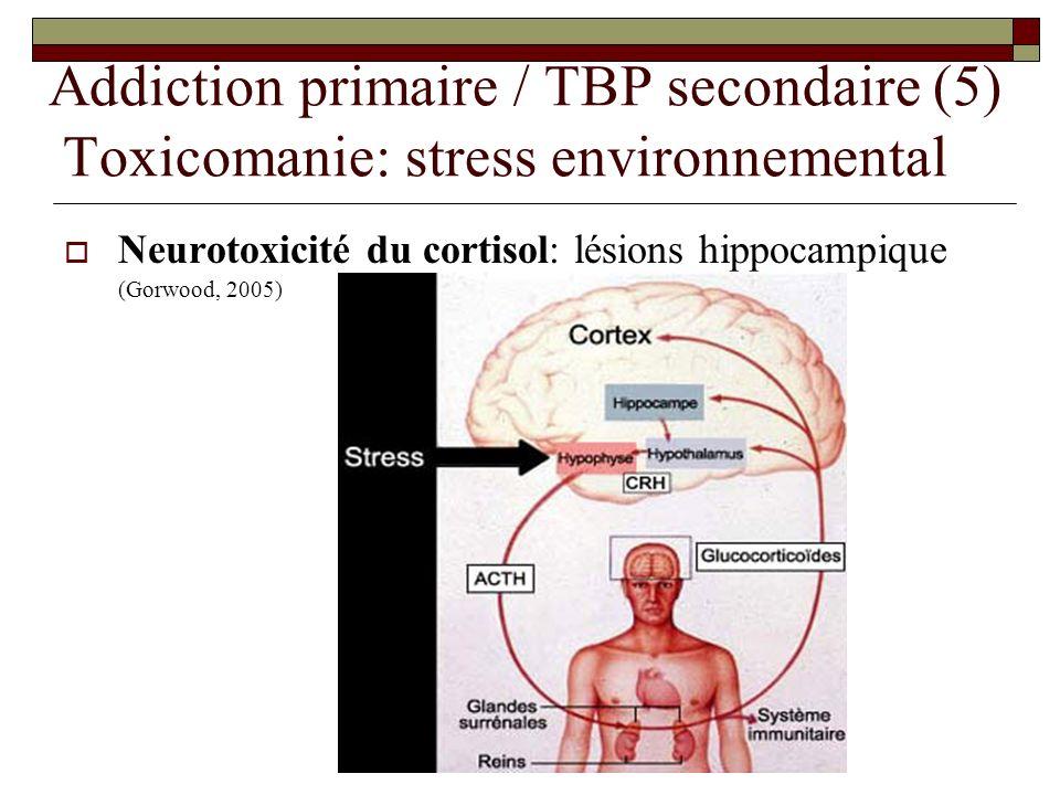 Addiction primaire / TBP secondaire (5) Toxicomanie: stress environnemental