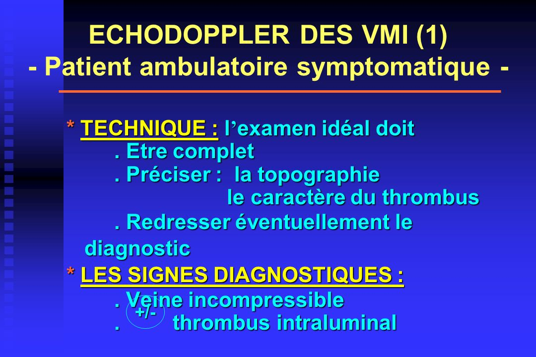 ECHODOPPLER DES VMI (1) - Patient ambulatoire symptomatique -