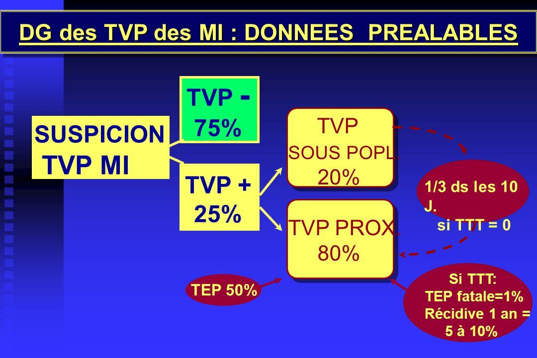 DG des TVP des MI : DONNEES PREALABLES