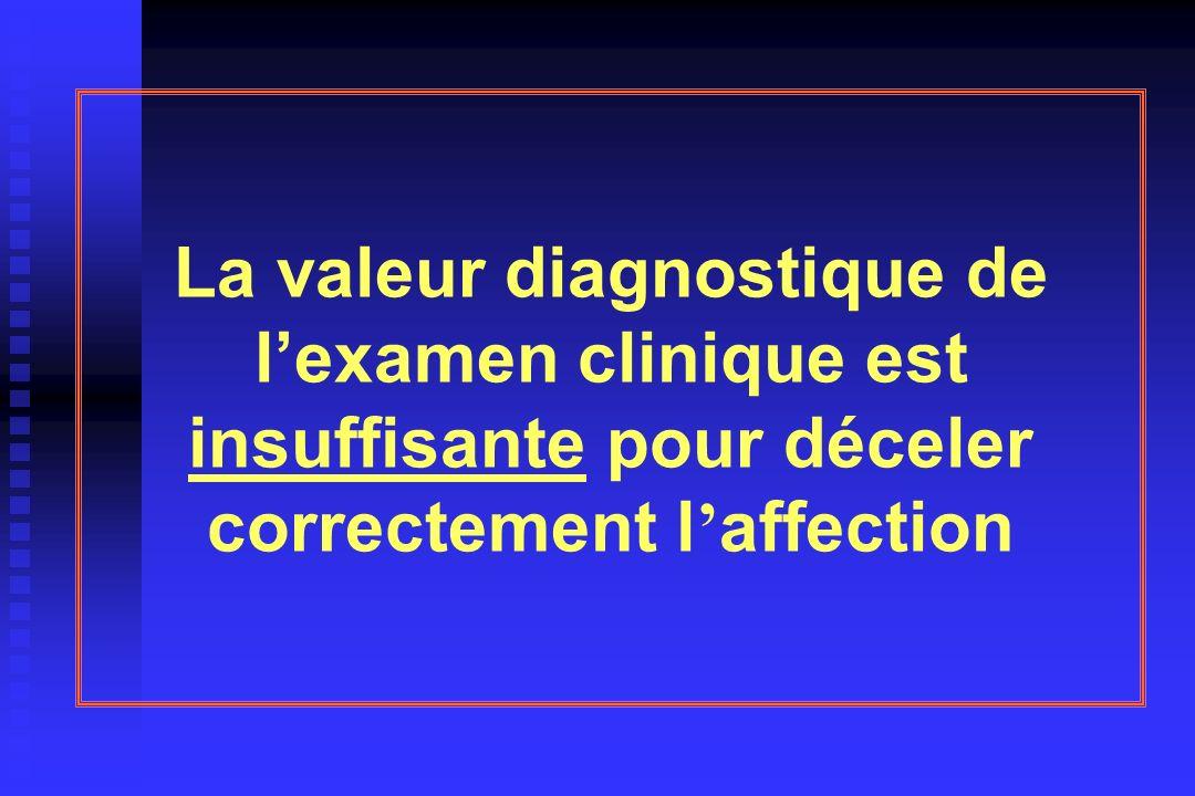 La valeur diagnostique de l'examen clinique est insuffisante pour déceler correctement l'affection