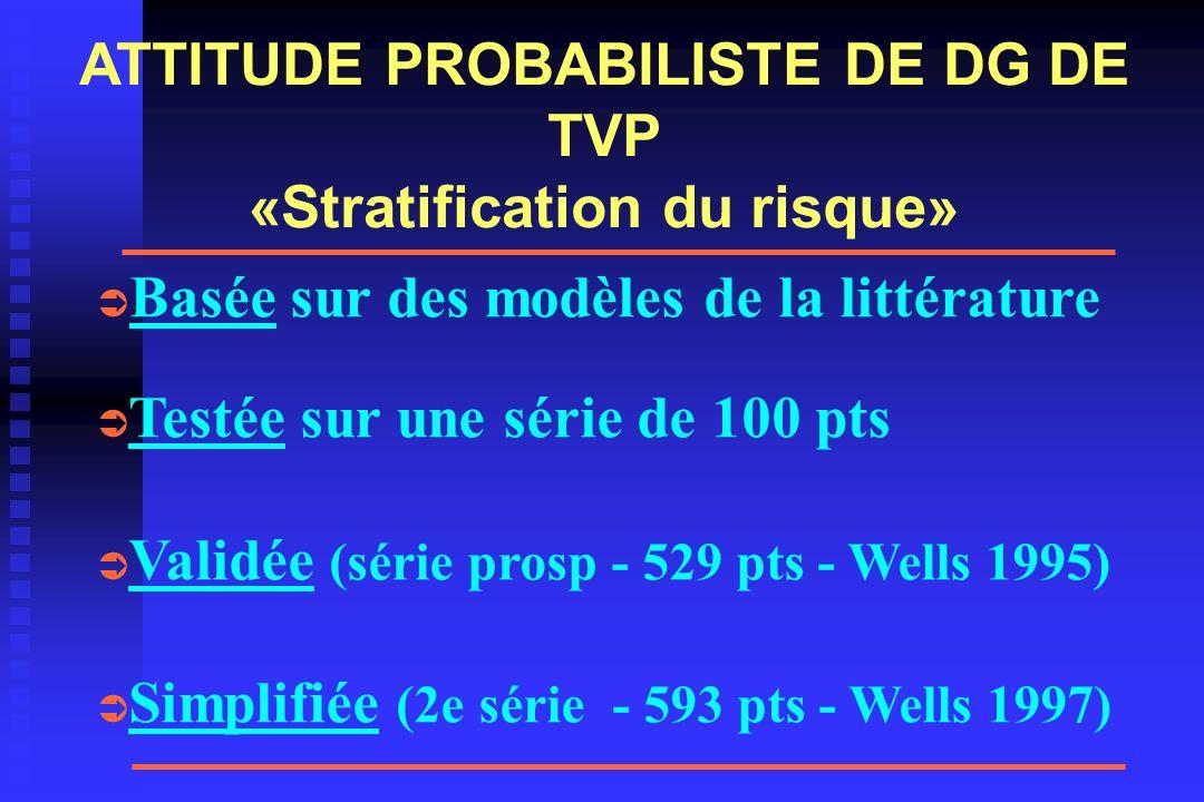 ATTITUDE PROBABILISTE DE DG DE TVP «Stratification du risque»
