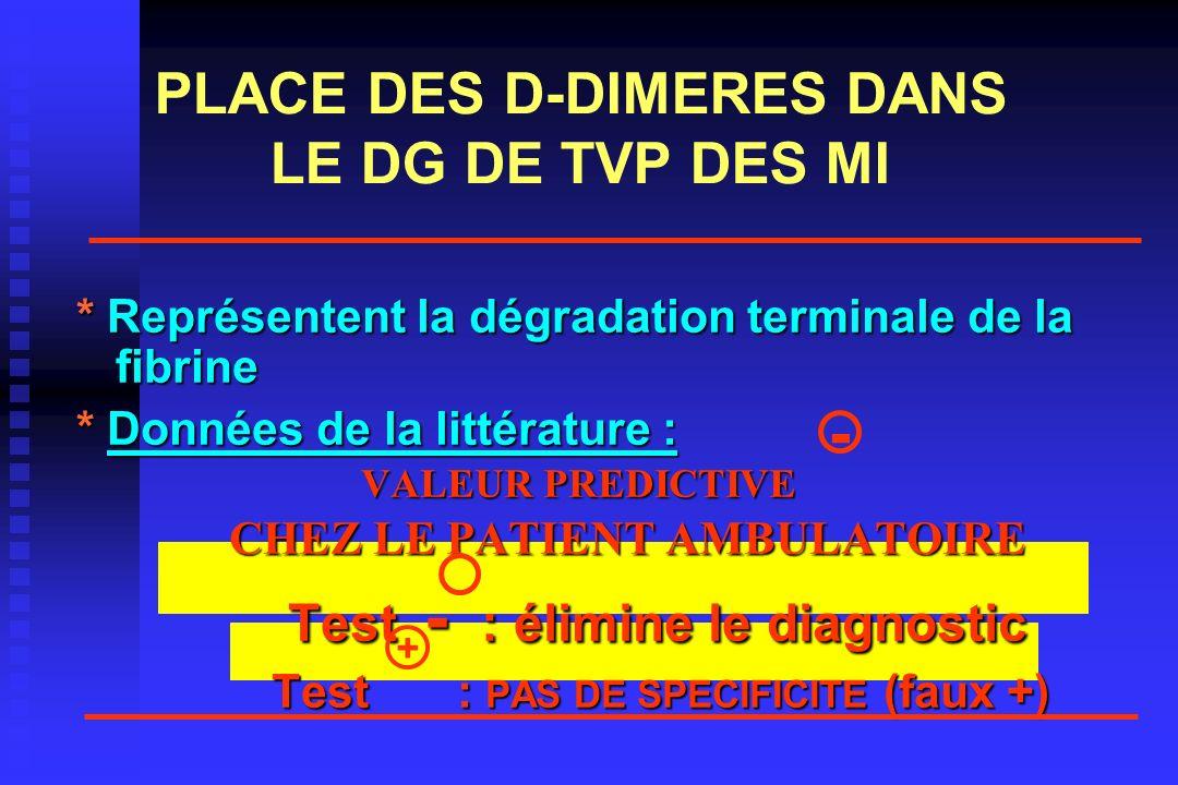 PLACE DES D-DIMERES DANS LE DG DE TVP DES MI