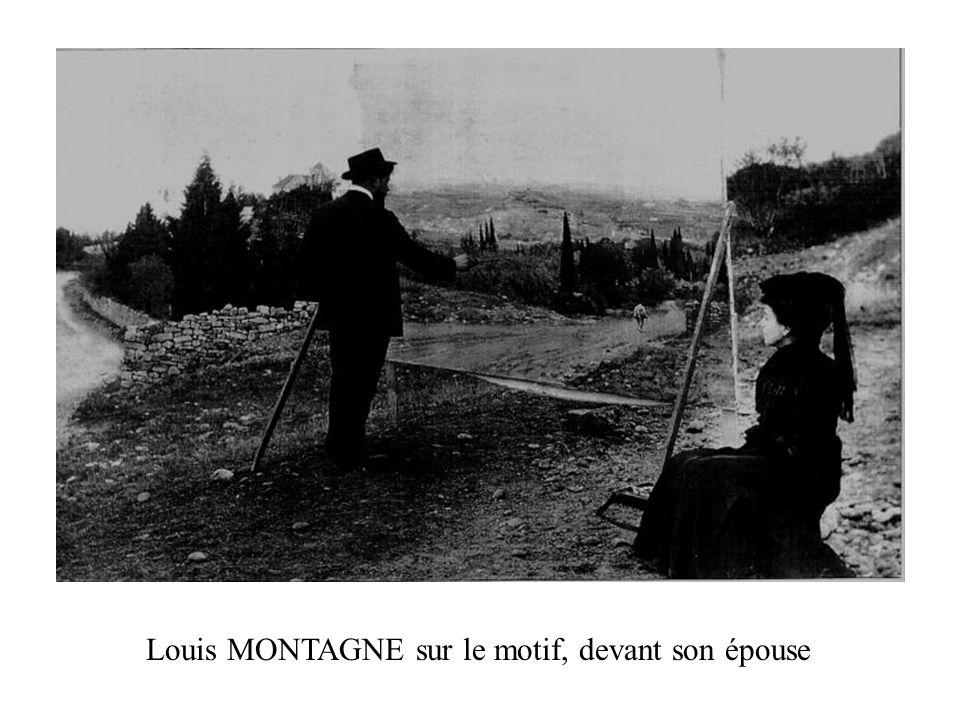 Louis MONTAGNE sur le motif, devant son épouse