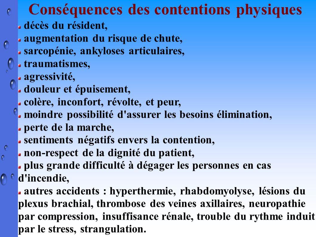 Conséquences des contentions physiques