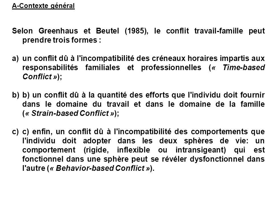 A-Contexte général Selon Greenhaus et Beutel (1985), le conflit travail-famille peut prendre trois formes :