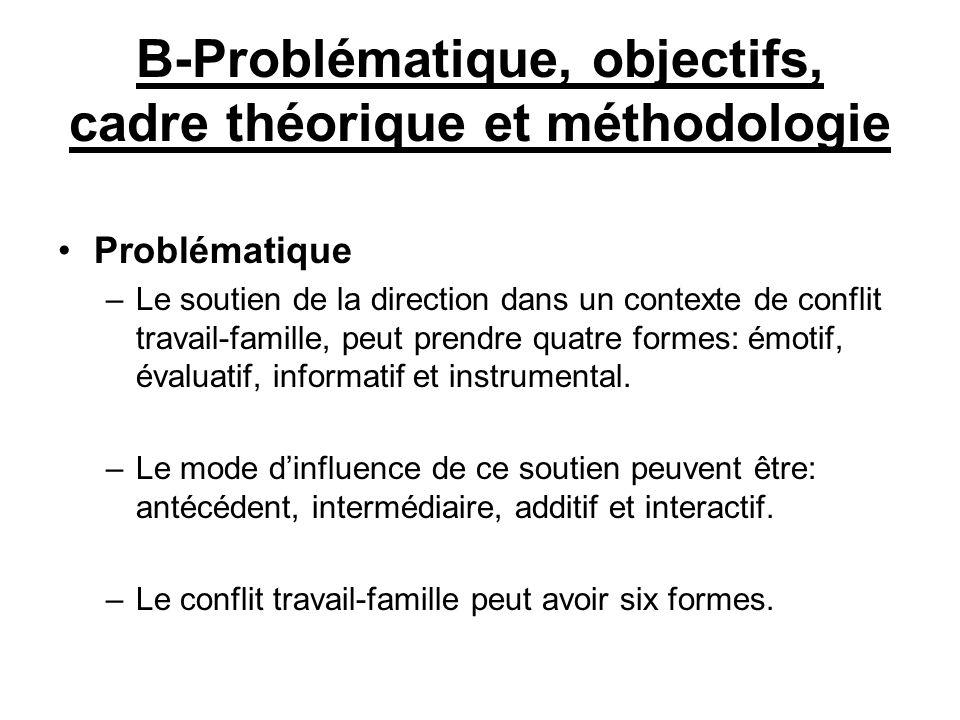 B-Problématique, objectifs, cadre théorique et méthodologie
