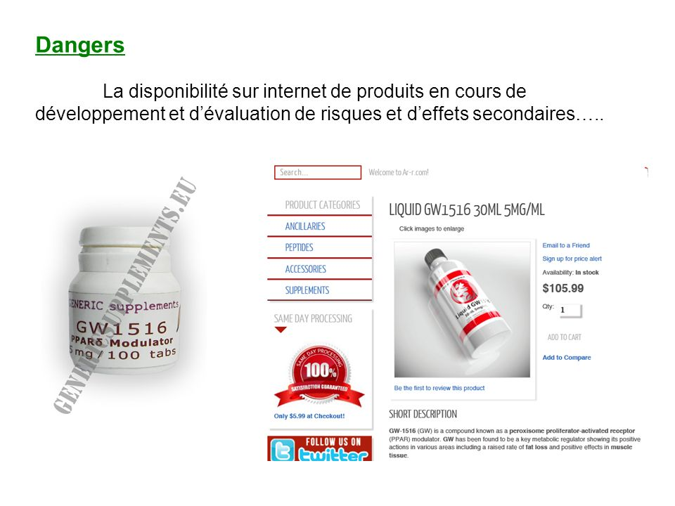 Dangers La disponibilité sur internet de produits en cours de développement et d'évaluation de risques et d'effets secondaires…..