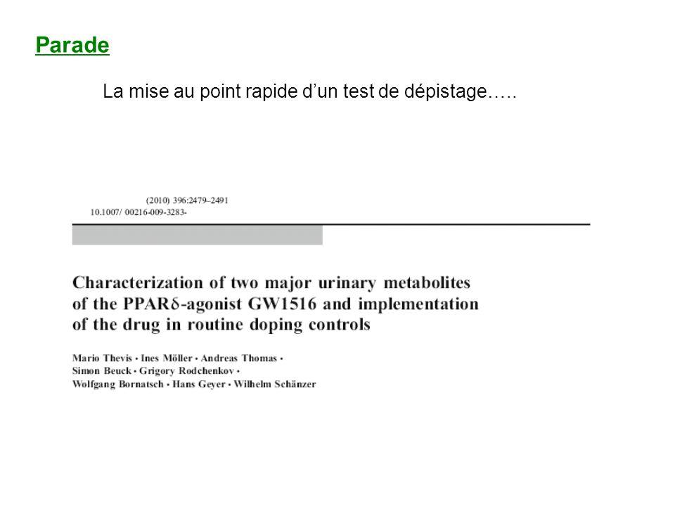 Parade La mise au point rapide d'un test de dépistage…..