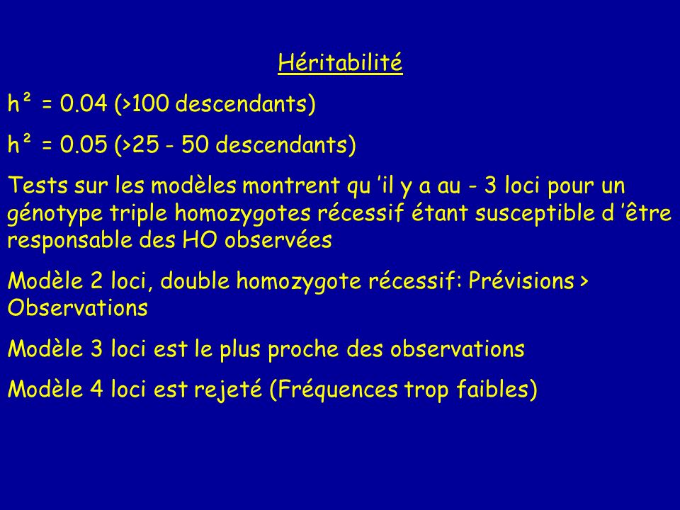 Héritabilité h² = 0.04 (>100 descendants) h² = 0.05 (>25 - 50 descendants)