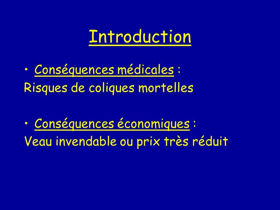 Introduction Conséquences médicales : Risques de coliques mortelles