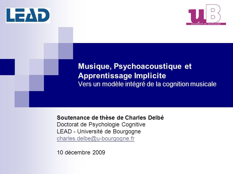 Musique, Psychoacoustique et Apprentissage Implicite Vers un modèle intégré de la cognition musicale