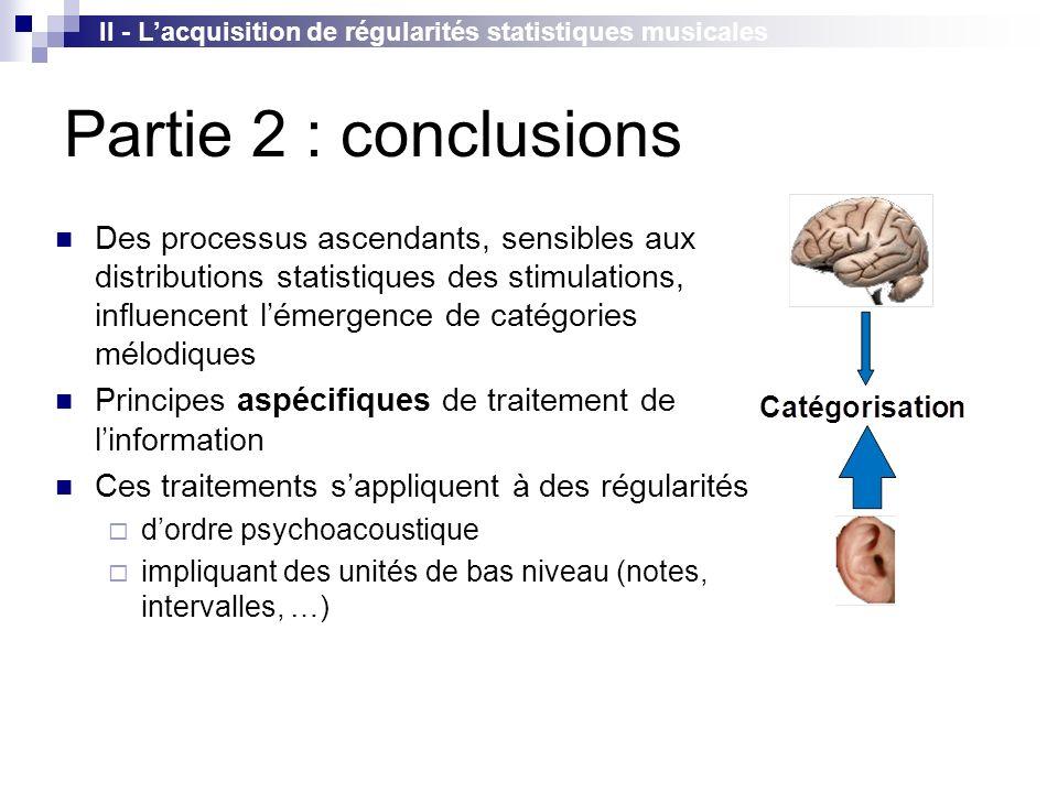 II - L'acquisition de régularités statistiques musicales