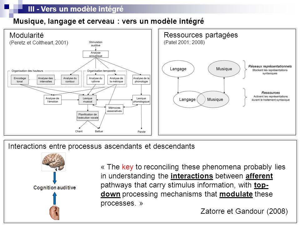 III - Vers un modèle intégré