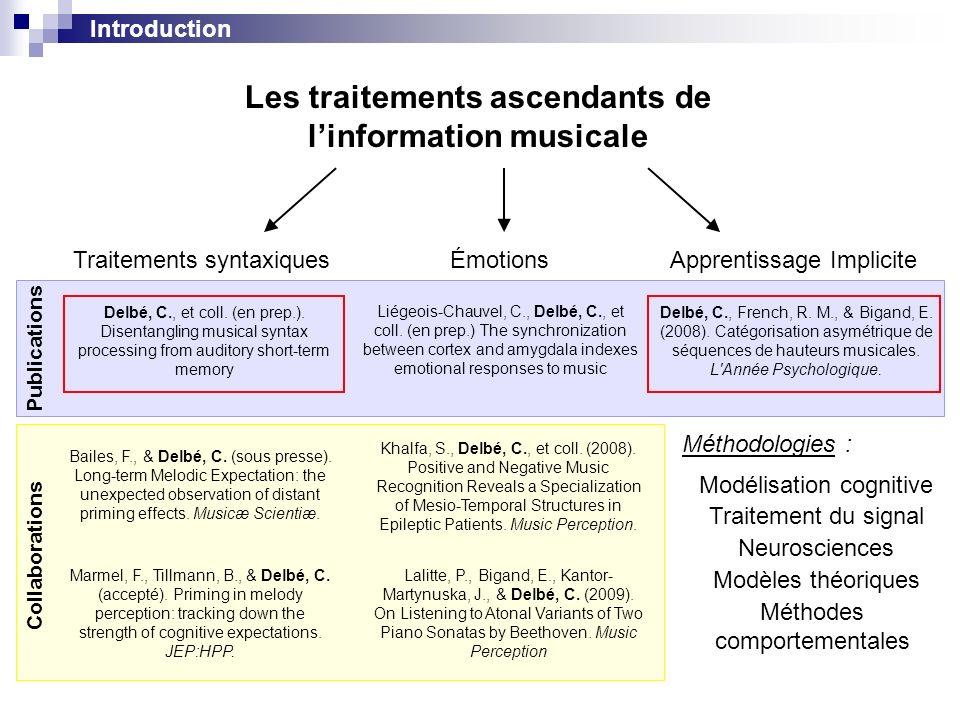 Les traitements ascendants de l'information musicale