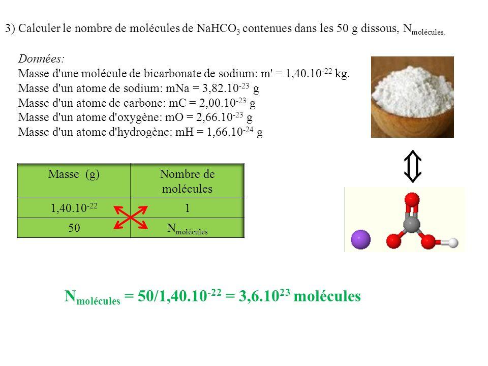  Nmolécules = 50/1,40.10-22 = 3,6.1023 molécules
