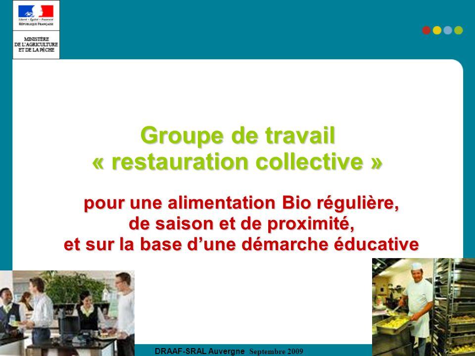 Groupe de travail « restauration collective »