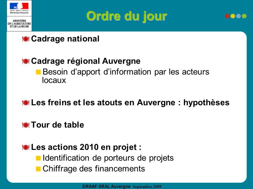 Ordre du jour Cadrage national Cadrage régional Auvergne