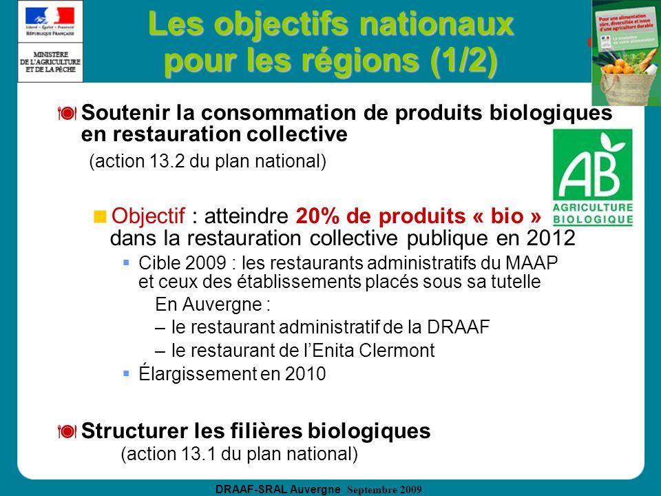 Les objectifs nationaux pour les régions (1/2)
