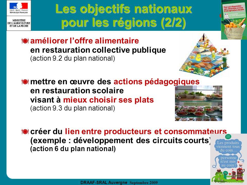Les objectifs nationaux pour les régions (2/2)