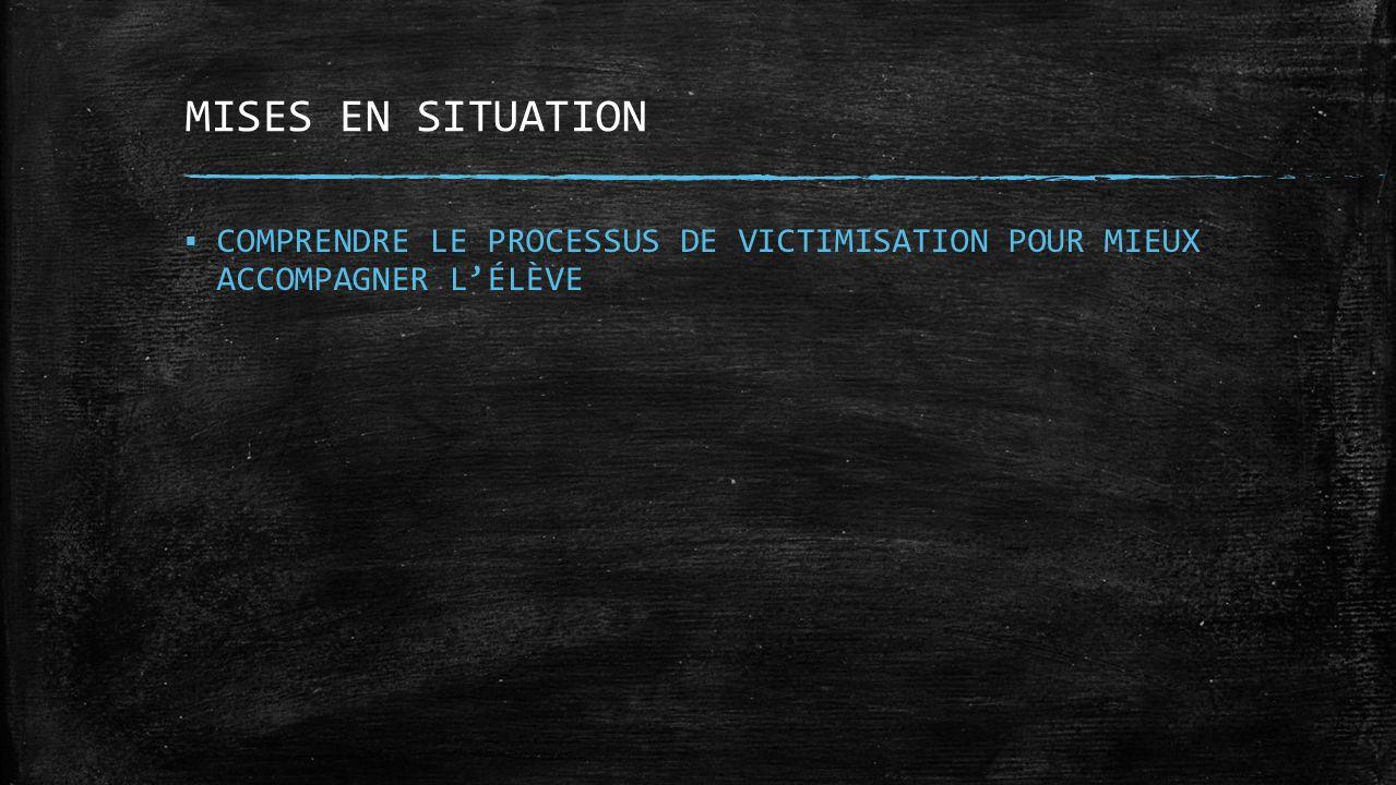 MISES EN SITUATION COMPRENDRE LE PROCESSUS DE VICTIMISATION POUR MIEUX ACCOMPAGNER L'ÉLÈVE.