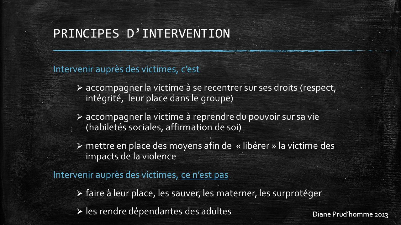 PRINCIPES D'INTERVENTION