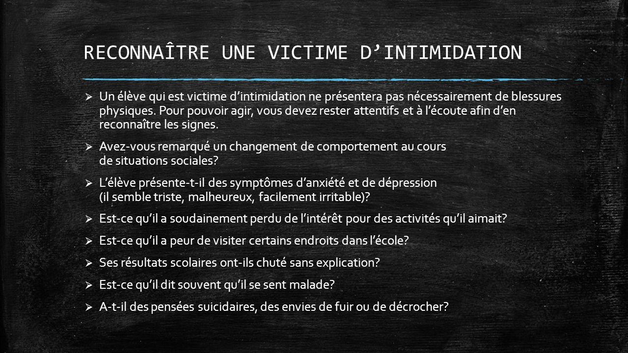 RECONNAÎTRE UNE VICTIME D'INTIMIDATION