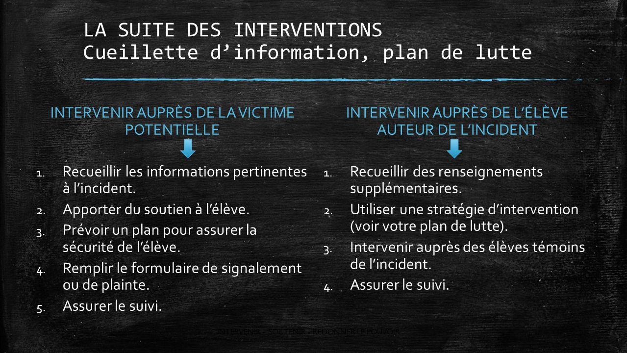 LA SUITE DES INTERVENTIONS Cueillette d'information, plan de lutte