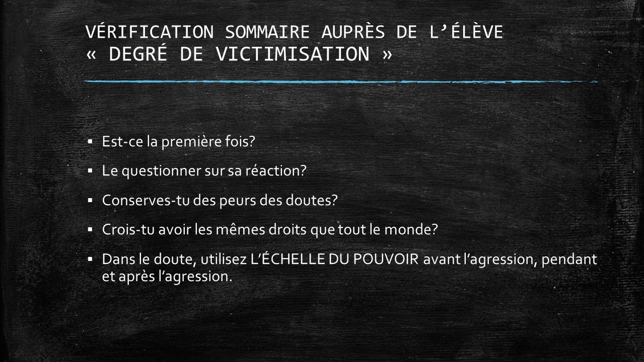 VÉRIFICATION SOMMAIRE AUPRÈS DE L'ÉLÈVE « DEGRÉ DE VICTIMISATION »