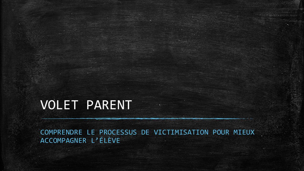 VOLET PARENT Marjolaine COMPRENDRE LE PROCESSUS DE VICTIMISATION POUR MIEUX ACCOMPAGNER L'ÉLÈVE