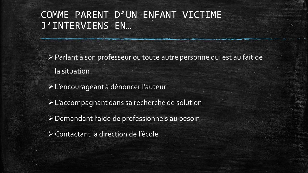 COMME PARENT D'UN ENFANT VICTIME J'INTERVIENS EN…