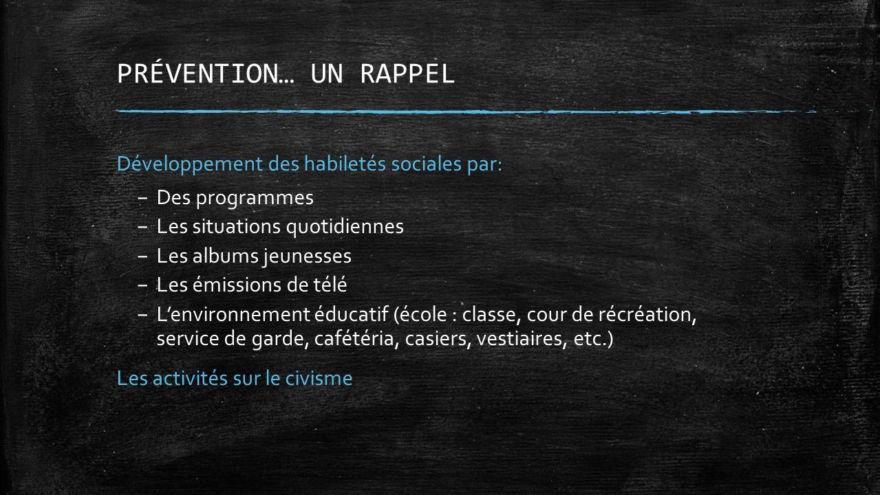 PRÉVENTION… UN RAPPEL Développement des habiletés sociales par: