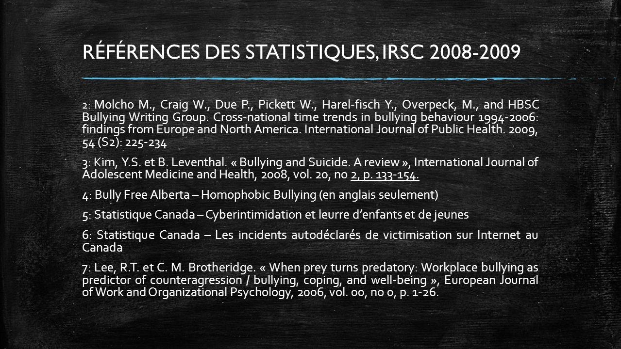 RÉFÉRENCES DES STATISTIQUES, IRSC 2008-2009